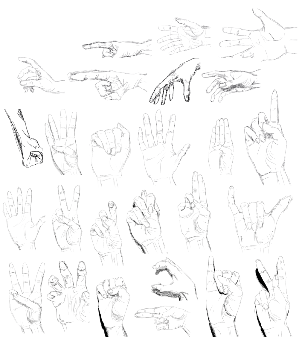 The first batch of hands I drew.